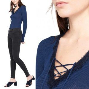 Sandro Blue Ribbed Tie Lace Trim Top 3 Large NWT